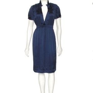 CALYPSO ST BARTHS NAVY BLUE SILK DRESS